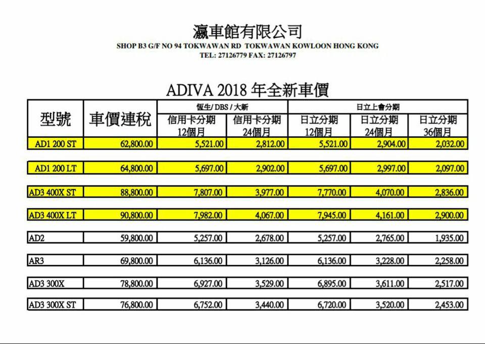 2018 ADIVA PRICE LIST